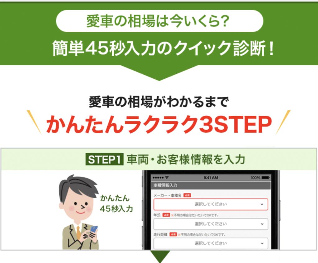 STEP1:車の査定をするために車種情報を入力!